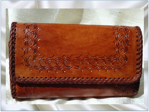 Leather clutch. Indian Leather Purse. Indian, Handmade, hand embossed. Honey brown leather handbag. From Artkrti.