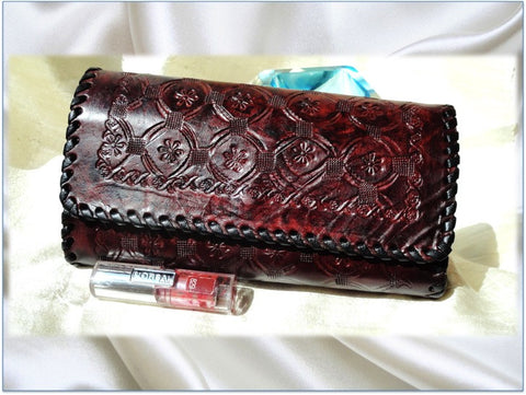 Women's handbag leather clutch. Indian Leather Purse. Indian, Handmade, hand embossed. Dark burgundy leather handbag. From Artkrti.