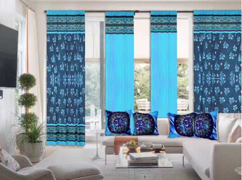 Indian curtains or drapes. Ethnic floral design with sari-look border- blue black. Living room drapes. From Artikrti.