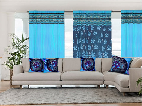 Living Room Indian curtains or drapes. Ripple Turquoise with sari-look border. From Artikrti.