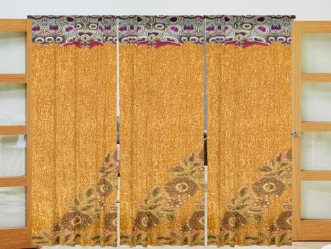 Unique living room curtains. Ethnic lace and stonework print- mustard & purple. French window drapes. From Artikrti.