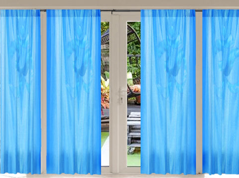 "Indian curtains and drapes- sky blue. Bay window drapes. Yoga room curtains.  ""Touch of Om"" from Artikrti"