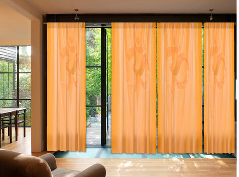 "Living room drapes. Yoga room curtains. Indian AUM curtains. ""Touch of Om"" from Artikrti"
