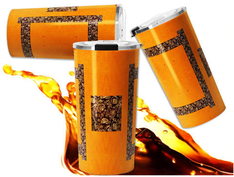 Mango Yellow travel mug for coffee or tea for women- Zari Indian design for yogis.  Artikrti.