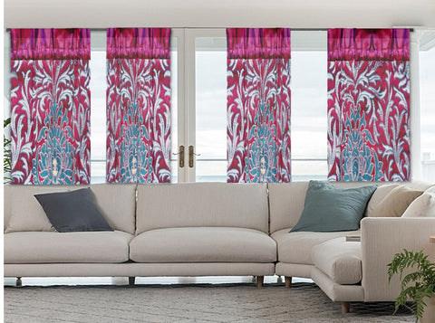 Indian curtains or drapes. Ethnic printed- maroon burgundy green floral design. Indian home decor. From Artikrti.