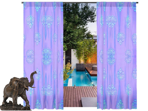 "Window curtains. Living room curtains. Long curtains Indian style design- ""Floral Lanterns"". From Artikrti."