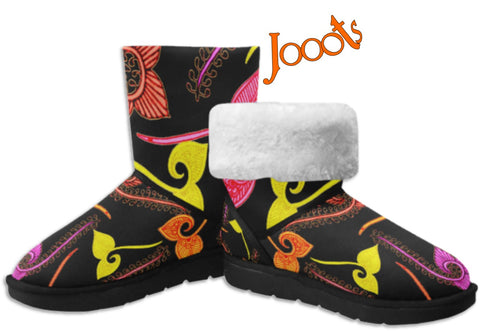 Girls Classic  Snow Boots- black henna design. Cozy Winter Shoes- Feather Floats. Jooots from Artikrti