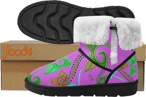 Girls Classic Mid Calf Snow Boots- pale purple henna design. Cozy Winter Shoes- Feather Floats. Jooots from Artikrti