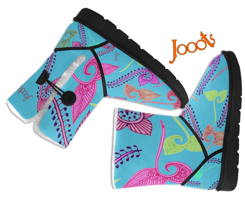 Girls Classic  Snow Boots- turquoise henna design. Cozy Winter Shoes- Feather Floats. Jooots from Artikrti