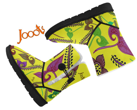 Girls Classic  Snow Boots- yellow henna design. Cozy Winter Shoes- Feather Floats. Jooots from Artikrti
