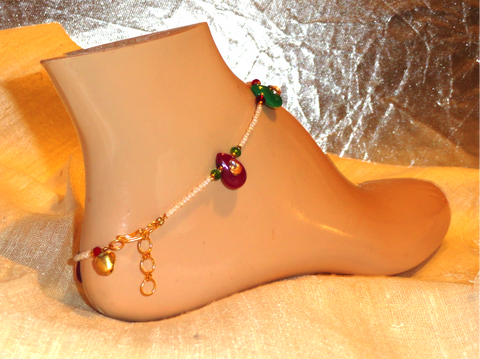 Meenakari and stone anklet. Indian Jewelry. Handmade anklet. Copper anklet. Ethnic Indian anklet.  From Artikrti.