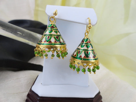 Ethnic Indian Enamel ear ring. Indian Jewellery. Minakari earrings. Indian Jewelry. Handmade dangling ear ring. . From Artikrti.