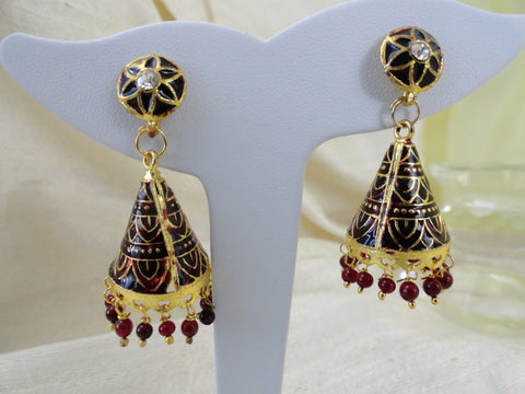 Gold maroon minakari dangling ear ring. Ethnic Indian Enamel ear ring. Indian Jewellery. Minakari earrings. Indian Jewelry. From Artikrti.