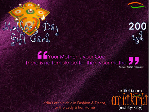 Mother's Day Gift Card. Best Gift for mom. Unique present for mummy. From Artikrti.