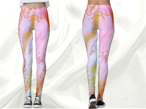 "Cute Indian yoga pants, dance leggings, fitness clothing, gym wear for women- pink. ""Mishti"". From Artikrti."