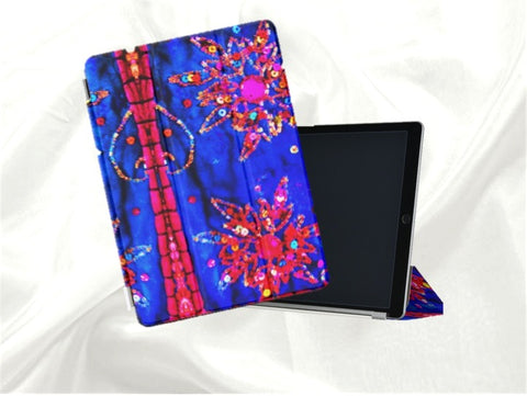 iPad Pro protective case and stand for women- sequins n beads design, Indian. From Artkrti.