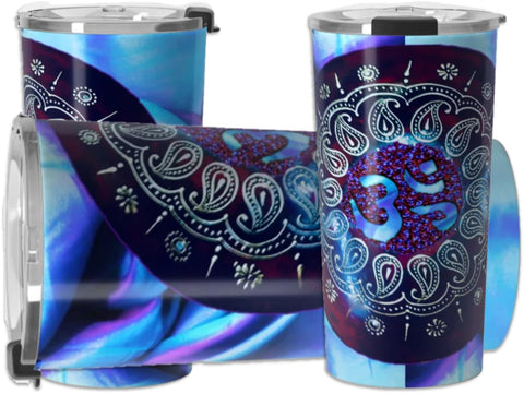 Rangoli style travel mug-coffee or tea. Om AUM mantra design, stainless steel. Artikrti.