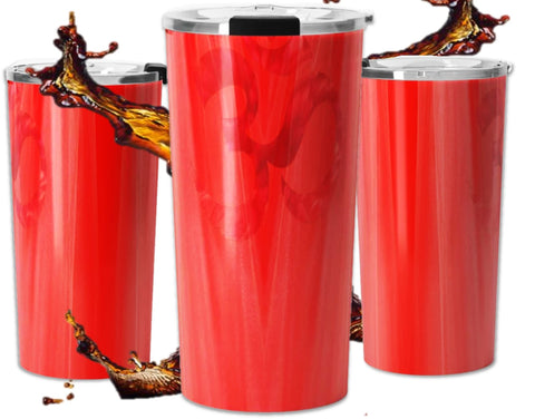 Women's spill proof travel mug for coffee or tea- Om or Aum design for yogis. Red Holiday color. Artikrti.