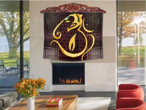 "Indian Fabric Art wall tapestry. Ganapathy Om Wall Hanging. AUM Yoga room Decor Idea. Contemporary Art- ""Blessing'  OR ""Aashirvaad"". Artikrti"