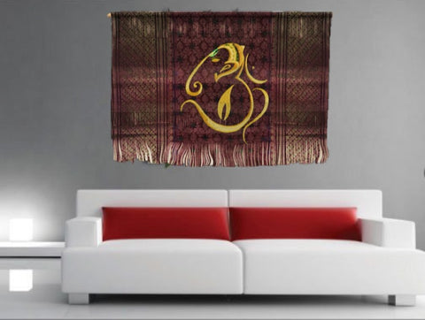 Indian Fabric Art Wall Tapestry Ganapathy Om Wall Hanging Aum Yoga Room Decor Idea Contemporary Art