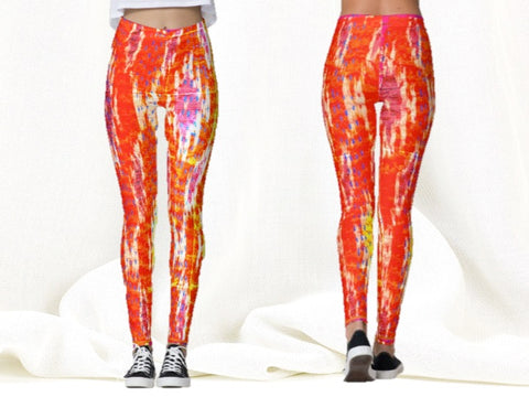orange dance leggings capris yoga pants ikat artikrti3