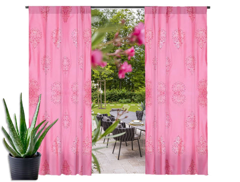 "Rose Pink Indian print curtains. Window curtains.  Family room curtains. Long drapes- ""Floral Lanterns"". From Artikrti."