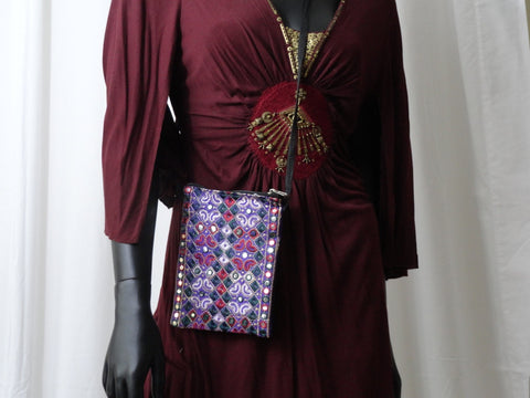 Sequin sling handbag and passport bag. Embroidered Indian handbag . Day n evening bag. From Artkrti.