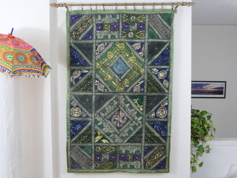 "Patchwork wall decor: Wall Tapestry. ""Meadows""- Fabric Wall Hanging.  Indian ethnic wall tapestry. Artikrti"