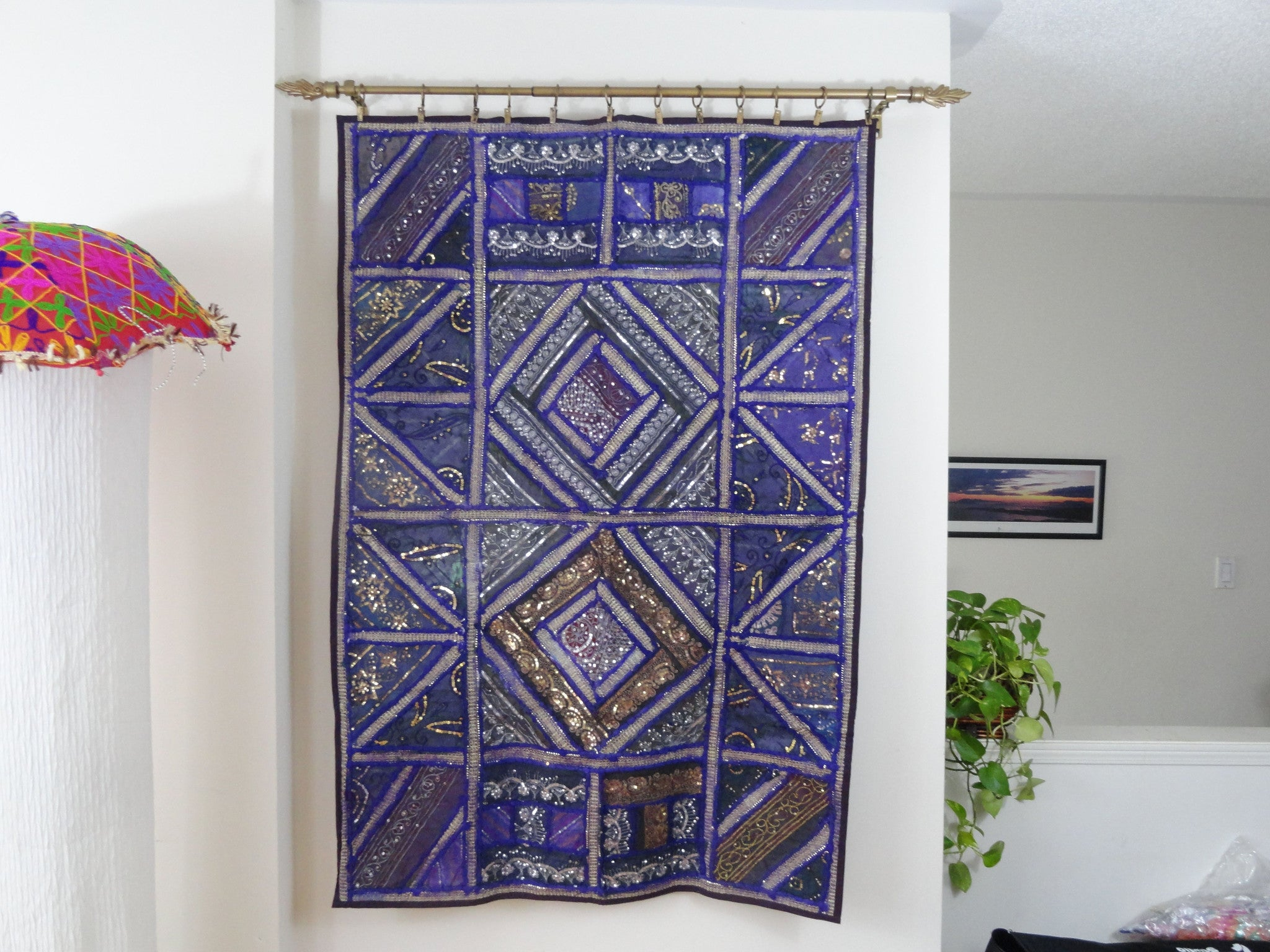 Fabric Wall Tapestry. Wall Hanging. Purple Strokes Embroidery And Patchwork Wall  Decor. Indian Ethnic Wall Tapestry Artikrti