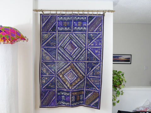 Fabric Wall Tapestry. Wall hanging. Purple Strokes-embroidery and patchwork wall decor. Indian ethnic wall tapestry Artikrti