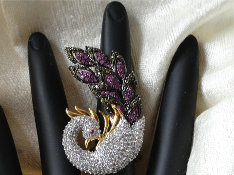 Dancing Peacock finger ring with stones & amethyst. Indian Jewelry. Handmade. Ethnic adjustable, Designer looks party or wedding ring . From Artikrti.