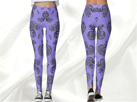 "Workout leggings for women, yoga pants. Pilates pants, printed leggings- mellow mauve. Indian, ethnic ""Bharathanatyam or Dance of Emotions"". From Artikrti."