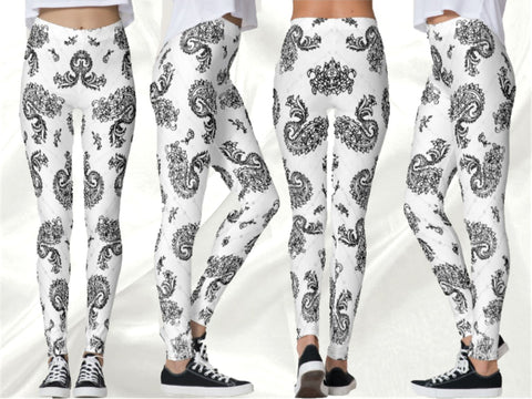 "Dance leggings, yoga pants. boho fashion pants, printed leggings- snow white. Indian, ethnic ""Bharathanatyam or Dance of Emotions"". From Artikrti."
