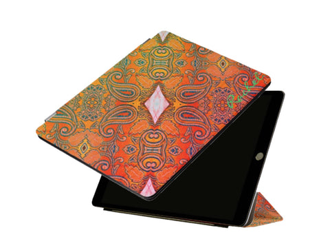 Glam iPad cover and stand for women. Mango embroidery design for girls' iPad Pros- orange, green. Mango Maze. From Artikrti