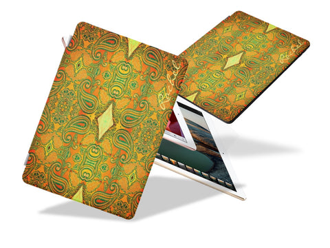 Unique iPad Pro cover and stand for women. Mango embroidery design for girls' iPads- yellow, green. Mango Maze. From Artikrti