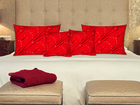 "Holiday Red Pillow covers/shams. Matching cushion covers. ""StarLights"" by Artikrti."