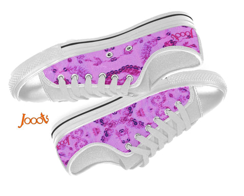 Amethyst purple canvas shoes for girls. Low tops keds. Indian design. Sequin Glam . Jooots from Artikrti