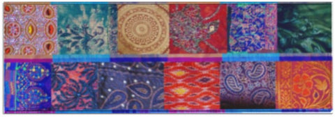 "Indian Yoga Mat- boho patchwork printed design. Colourful ""Sequin Rainbow"" Jaipur design. From Artikrti."