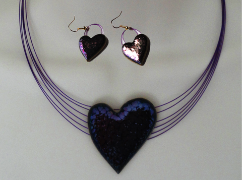 Love necklace and matching ear rings. Indian Jewellery. Handmade glazed ceramic necklace, ear rings. Purple heart, violet necklace. From Artikrti.
