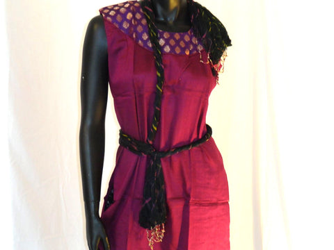 Maroon cotton summer long dress. Soft Cotton short dress top with gold sari appliqué in purple. Summer boho casual blouse or top. ComfyCottons from Artikrti.