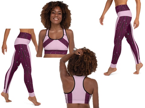 "High waist fitness leggings for girls. Gym leggings or yoga pants- rose pink & plum. Matching sports bra. ""Sitaara"" or ""Star"". From Artikrti."