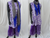 Sleeveless yoga cotton top or dress or kurti. Summer boho casual blouse or top or tunic-purple andwhite. ComfyCottons from Artikrti.