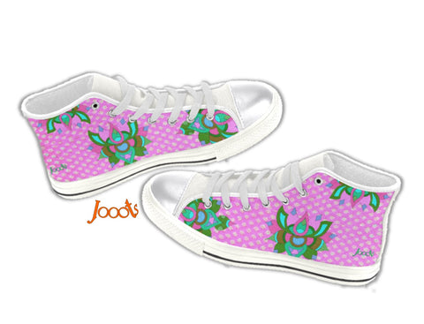 Girl's sneakers or keds shoes. Ethnic Rangoli design high tops canvas shoes. Rainbow Lotus . Jooots from Artikrti