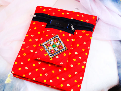 Red Ethnic iPad sling bag. Arty Bandhini Urban Handbag. Indian iPad case, handbag and mobile pouch. Cotton and handmade bandhini handbag. Trendy handbag. From Artkrti.