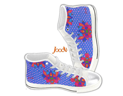 Colorful keds for girls. Ethnic sneakers. Rangoli design high tops canvas shoes. Rainbow Lotus . Jooots from Artikrti