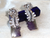 Ear rings from India- Amethyst, white stone silver ear ring.Designer Indian ear ring. Rose silver ear ring. Modern ethnic ear rings. From Artikrti.