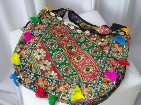 Women's shoulder tote hand bag. iPad bag cum hand bag. Ethnic embroidered bag with sequins and beads. Indian bollywood hand tote. From Artikrti