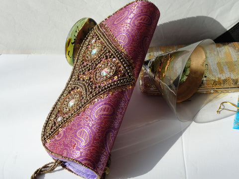 Indian Clutch Purse. Purple and gold Silk handbag. Bollywood clutch bag. Indian Evening Clutch purse. Stone sequin evening bag. From Artkrti.