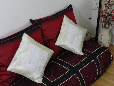 Silk sofa throw pillow cover set from India. Embroidered cushion cover. White Gold ethnic cushion, Decorative sofa cushion cover. Artikrti.