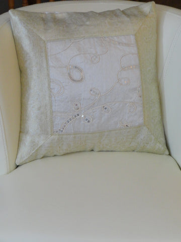 Silk sofa throw pillow cover set from India Embroidered cushion